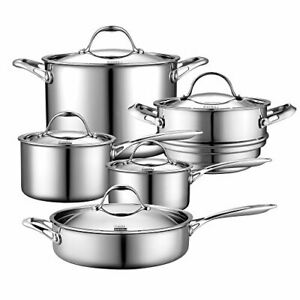 Cooks Standard Cookware Set 10 Piece Multi Ply Clad Stainless Steel Induction