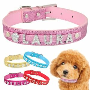 Pet Dogs Cat Personalized Dog Collar Leather Rhinestone Leather Dogs Cat Name