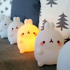 Molang Mood Lamp LED Night Light Bedroom Home Kid Room Camping Interior Decor