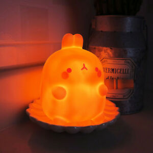 Molang Mood Red Lamp LED Night Light Bedroom Kid Room Camping Decor Figurine