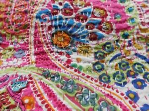 Indian Cotton Vintage Paisley Print Kantha Bedspread Quilt Throw Twin Size Gudri