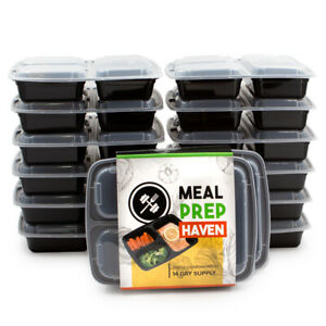 28pc Meal Prep Haven Food Storage Containers 3 Compartment w Lids 21 Day Fix