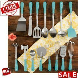 COOKING UTENSIL SET KITCHENWARE 15 Piece Tools Spatula Scoop Grater Pizza Cutter