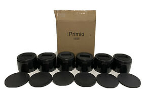 """iPrimio Bed and Furniture Risers 6 Pack Black Round Elevator up to 3"""" amp; Lifts Up"""