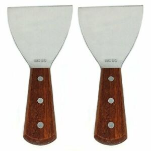 Richohome Wood  Grill Scrapers Handle Stainless Steel Blade 8.5-Inch (Pack of 2)
