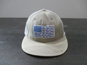 Columbia Hat Cap brown Blue PFG Professional Fishing Fitted Adult Large Mens *