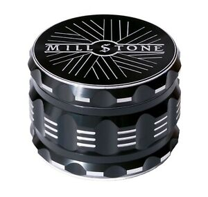 Millstone Tobacco Herb Grinder 4 Piece Metal 2.5 inch Large Magnetic Top Black $14.99
