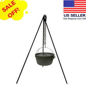 Outdoor Tripod Campfire Cooking Equipment Fire Pit Open Grill Camping Tall Hold