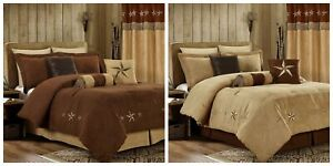 Chezmoi Collection 7 Piece Micro suede Embroidery Western Star Comforter Set