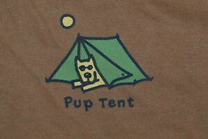 Large Women#x27;s Life Is Good Pup Tent Camping Rocket Brown LS Crusher Tee
