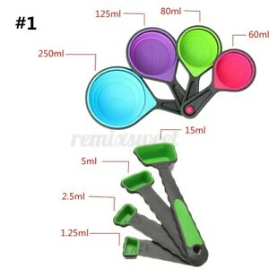 8pcs Silicone Measuring Cups Set Spoon Kitchen Durable Tool Collapsible Baking