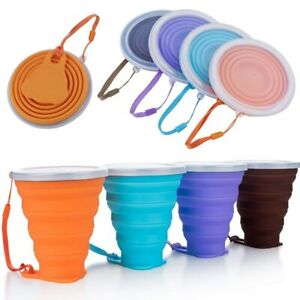 US STOCK 270ML Portable Travel Silicone Cup Telescopic Collapsible