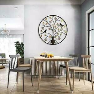 Round Metal Wall Hanging Art Sculpture Black Tree Of Life Garden Decor For Home $38.66