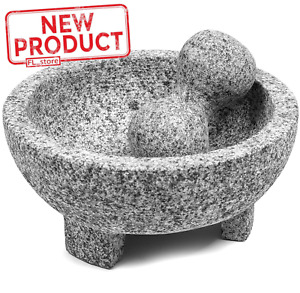 8 Inch Granite Mexican Molcajete Mortar amp; Pestle Spice Grinder Kitchen Cooking
