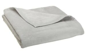 Sferra Chalet Queen/Full Blanket 100% Brushed Cotton Super Plush Light Gray NEW
