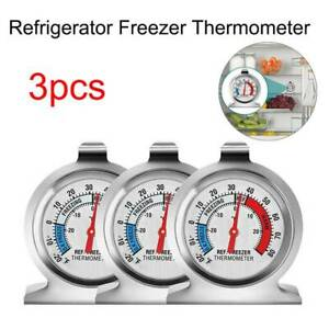 3 Pcs Stainless Metal Steel Temperature Refrigerator Freezer Dial Thermometer