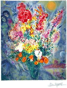 Beautiful Marc Chagall Bouquet Facsimile Signed amp; Hand Numbered Lithograph w COA $162.50