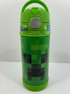 NEW Minecraft Thermos Funtainer 12 OZ Green Insulated Drink Bottle Flip Top