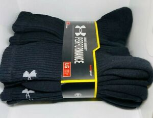 Under Armour Performance HeatGear Crew Socks 6 Pairs Mens Size 9 12.5 $19.95