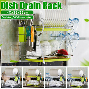 Dish Drying Rack 2-Tier Stainless Steel Cutlery Drainer Kitchen Shelf w/ 2 Plate