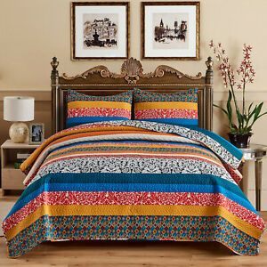 3 Piece Exotic Boho Quilt Set Bedspread Coverlet Bed Cover Reversible Decorative