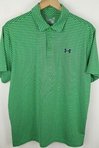 Under Armour Mens Sz Large Green Striped Loose Fit Playoff Polo Shirt $2.25