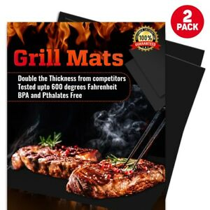 2 Pack Heavy Duty BBQ Grilling Mats Non Stick Reusable for Grilling Accessories