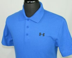 Men's Under Armour Heat Gear Cotton Poly Blue Pique Polo Golf Shirt Medium $5.00