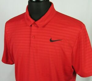 Men's Nike Dri Fit Short Sleeved 100% Polyester Red Polo Golf Shirt Large $18.00