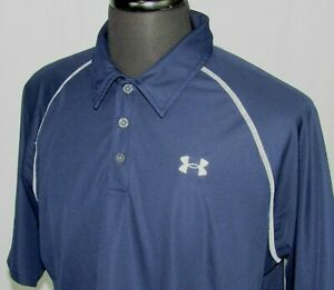 Men's Under Armour Short Sleeved 100% Polyester Navy Blue Polo Golf Shirt Large $0.99
