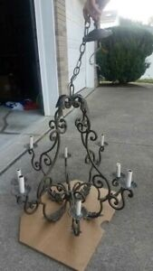 Wrought Iron 8 Arm Candle Chandelier