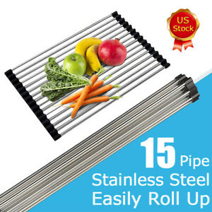 Kitchen Over the Sink Dish Drying Rack Roll Up Stainless Steel Colander Drainer $7.91