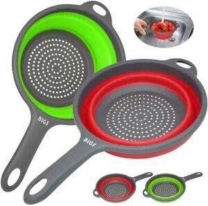 Handled Round Silicone Foldable Kitchen Colander Strainer Fruit Pasta Vegetable