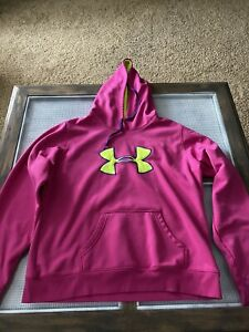 Women's Under Armour Storm Hooded UA Semi Fitted Sweatshirt Neon Pink Xl $10.00