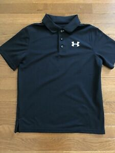 Under Armour boys shirt size Y L youth large athletic Black golf loose fit $12.00