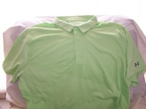 Mens Under Armour Green Patterned Short Sleeve 3 Button Polo Shirt 3XLarge LOOSE $7.20