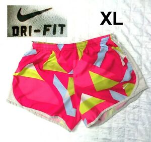 NIKE DRI FIT womens size XL PRINTED running SHORTS Lined Elastic Waist $14.99