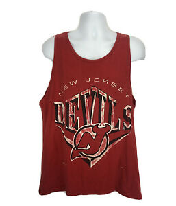 Vintage New Jersey Devils Shirt Tank Top Mens Size Large Nutmeg Yah Ted Faded $19.95