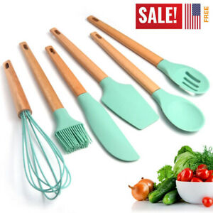 Silicone Cooking Utensils Set Turquoise Kitchen Set With Holder-Silicone Spoons