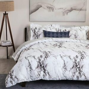 3pc White Marble Printed Duvet Cover Set Comforter Cover Bedding Set Queen King