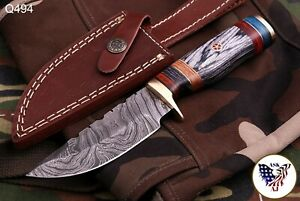 CUSTOM HAND FORGED DAMASCUS Steel Hunting Knife W wood amp; Brass Guard Handle