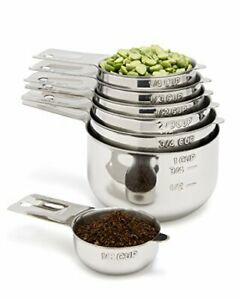 Stainless Steel Measuring Cups 7 Piece with 1 8 Cup Coffee Scoop Stainless Steel $33.72