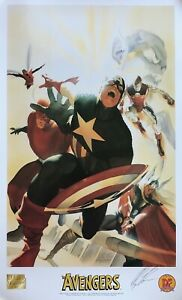 ALEX ROSS rare AVENGERS 4 lithograph SIGNED Kirby HOMAGE Dynamic Forces 1999 $89.99