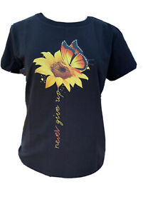 womens sunflower top t shirt with printed butterfly and sunflower $14.77