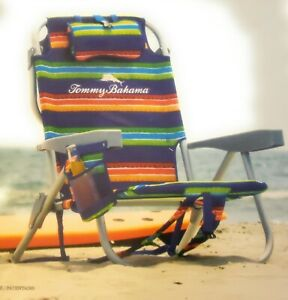 2 PACK | Tommy Bahama Backpack Beach Folding Deck Chair Blue/Green Stripes 2 PK