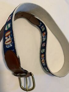 Leatherman Leather Sailboat Size 30 Ribbon Belt Brass Buckle Yacht Sails Preppy