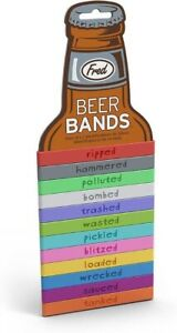 Fred BEER BANDS Drink Markers Can Bottle Set of 12 Multicolor Silicone Reusable
