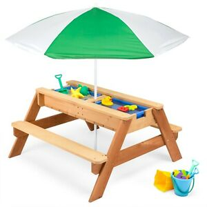 Kids Outdoor Convertible Wood Activity Umbrella Sand and Water Picnic Table
