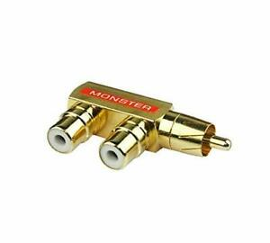 Monster RCA 1 Input 2 Output Male to Female Audio Transfer Plug Y Splitter $7.90