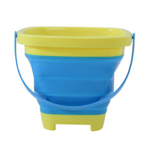 Collapsible Bucket Compact 2-Liter Silicone Folding Bucket Kids Beach Play